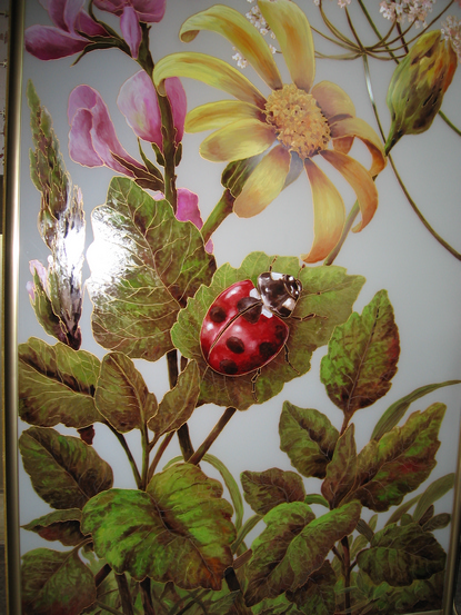 Рисунки на зеркале и стекле красками в Киеве для кухни и шкафа-купе индия