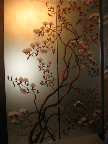 Рисунки на зеркале и стекле красками в Киеве для кухни и шкафа-купе орхидея
