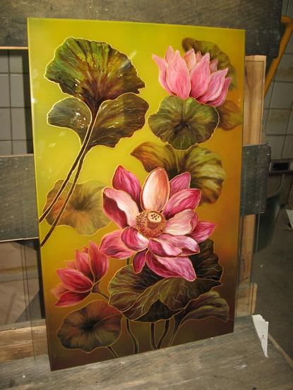 Рисунки на зеркале и стекле красками в Киеве для кухни и шкафа-купе цветок