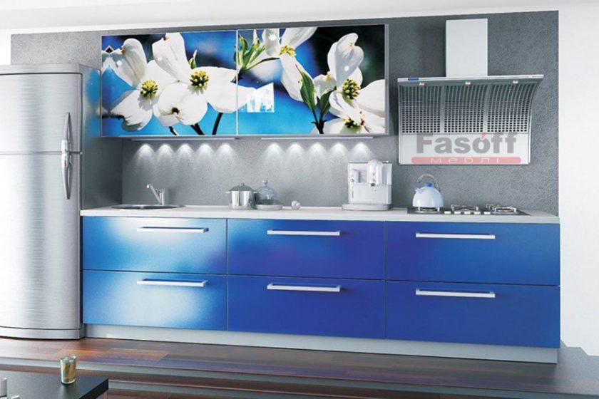 Кухня Фотопечать, синяя кухня с рисунком