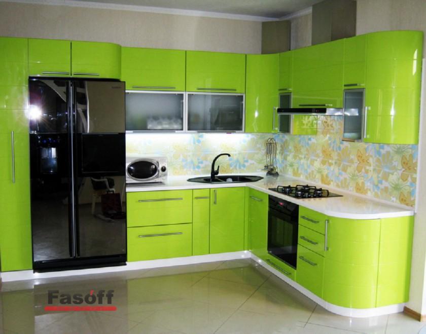 Кухня Лайм глянец краска, зеленая кухня