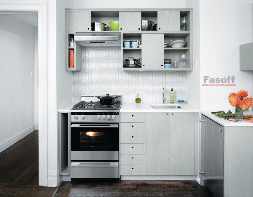 Кухня Мини серая, маленькая кухня, кухня модерн, простая кухня