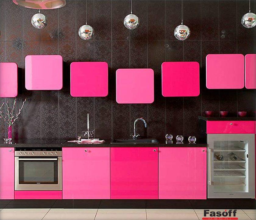 Кухня Розовая модерн