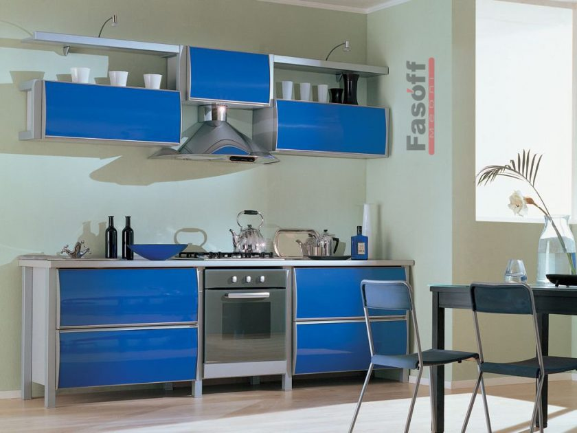 Кухня Скай синяя пластик