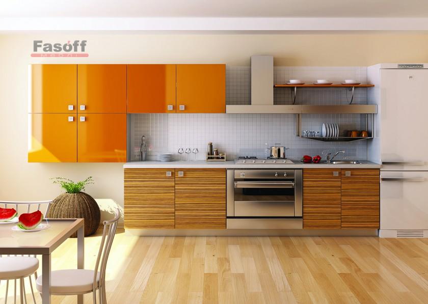 Кухня Тропик оранжевая зебрано модерн