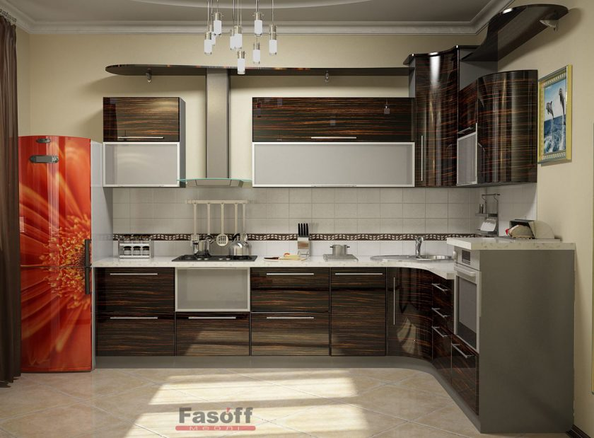Кухня Зебрано глянец МДФ шпонированый