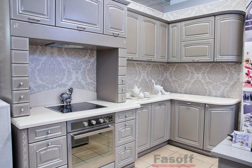 Кухня Милано патина серебро