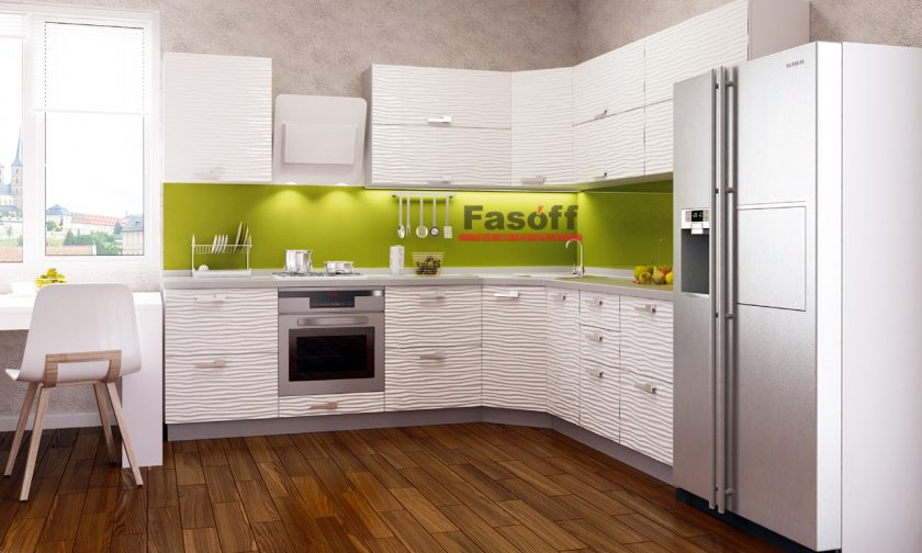 Кухня модерн Аква Родос Белый глянец 3D волна