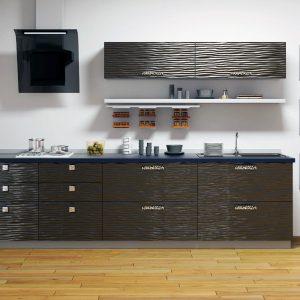 Кухня модерн Черный глянец 3D волна от Аква Родос