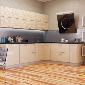 Кухня Аква Родос Капучино глянец 3D волна / Капучино глянец