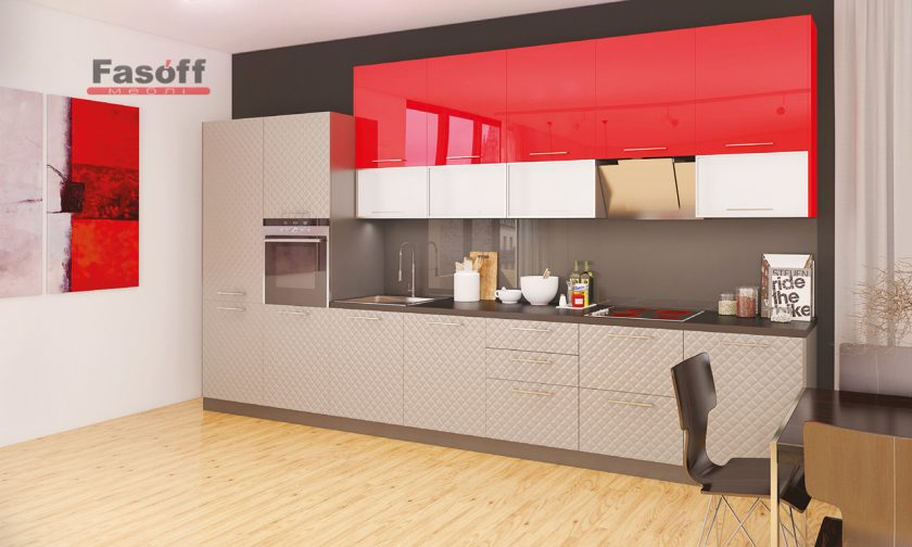 Кухня модерн Аква Родос Красный глянец / Серый мат 3D ромб
