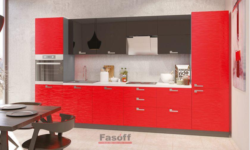 Кухня Аква Родос Черный глянец / Красный глянец 3D волна