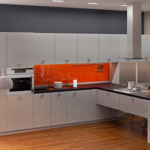 Кухня модерн Аква Родос Серый мат 3D ромб