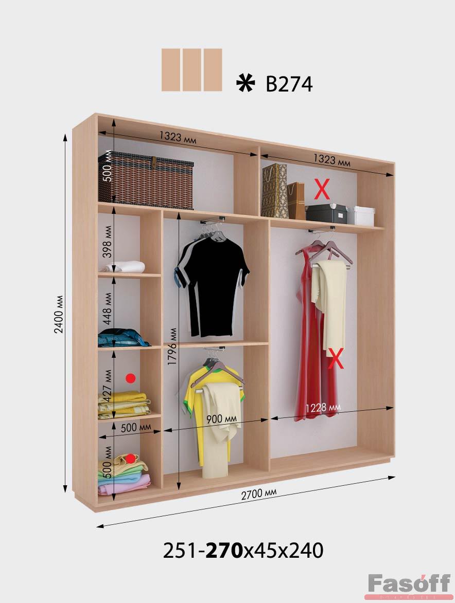 Планировка трехдверного шкафа-купе