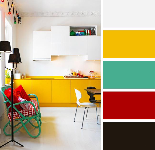 Кухня в желтых, красных и бирюзовых тонах