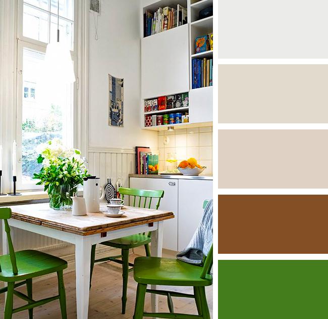 Кухня в зеленых и бежевых тонах