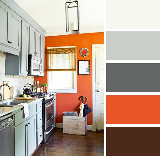 Кухня в серых и оранжевых тонах