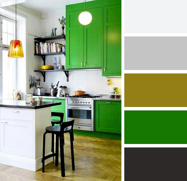 Кухня в зелных, коричневых и белых тонах