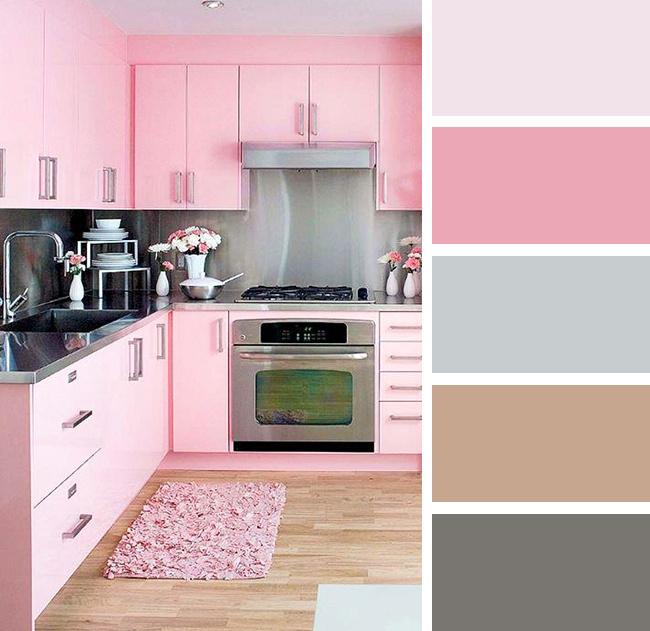 Кухня в розовых и серых тонах