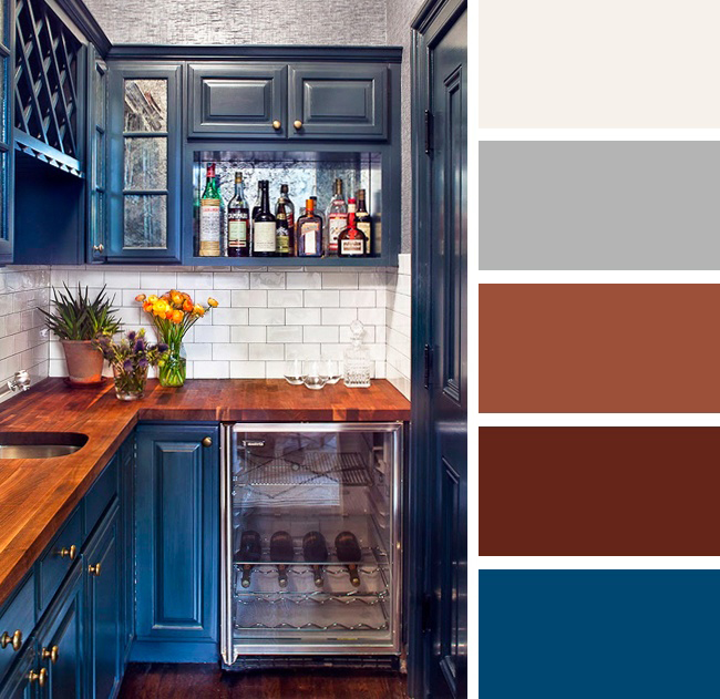 Кухня в синих и коричневых тонах