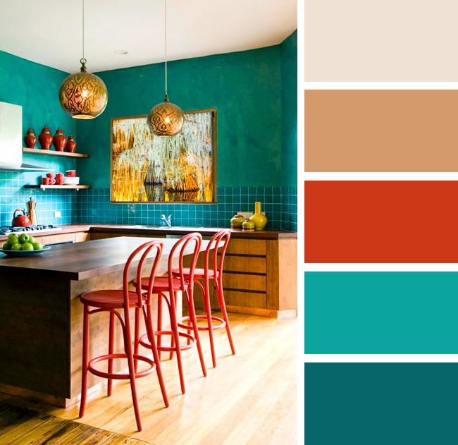 Кухня в бирюзовых и красных тонах
