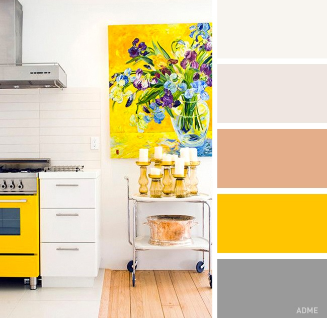 Кухня в белых и желтых тонах