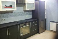Купить черно-белую кухню с пленочными фасадами AGT и столешницей ARPA под заказ Буча