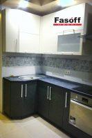 Купить черно-белую кухню с пленочными фасадами AGT и столешницей ARPA под заказ Вышневе