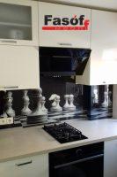 Купить кухню шахматы с фурнитурой Blum, столешницей исскуственный камень TriStone, фасадами МДФ крашеный глянец под заказ Ирпень