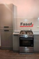 Серая кухня с фасадами МДФ крашеный матовый с фрезой и фурнитурой GTV Польша под заказ Харьковское шосе