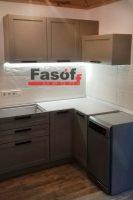 Серая кухня с фасадами МДФ крашеный матовый с фрезой и фурнитурой GTV Польша под заказ Борщаговка