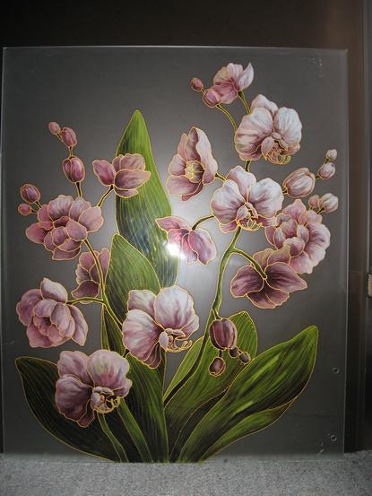 Рисунки на зеркале и стекле красками в Киеве для кухни и шкафа-купе птица