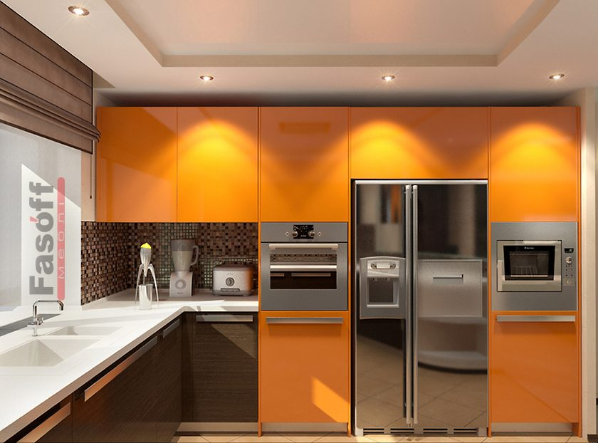 Кухня Апельсин, оранжевая кухня хай-тэк