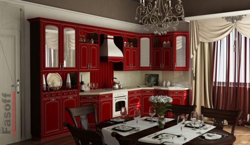 Кухня Бристоль бордовая, МДФ патинированый