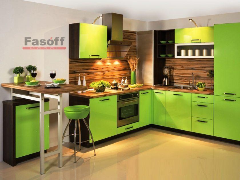 Кухня Киви зеленая модерн