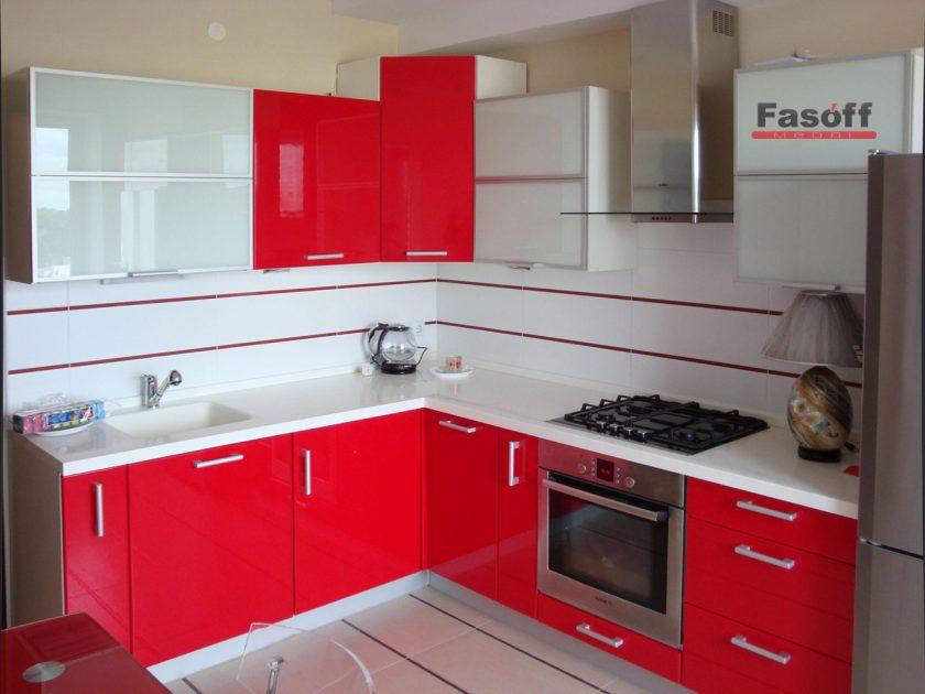 Кухня Мода красная глянцевая