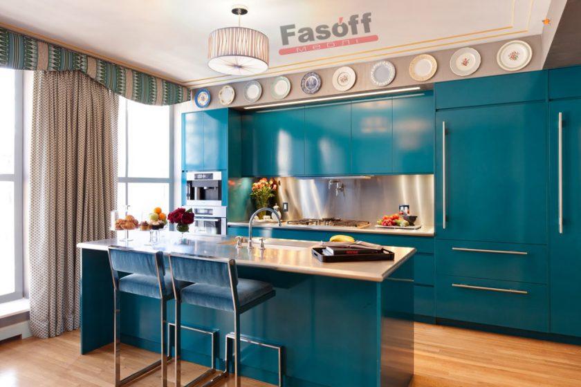 Кухня Морская Волна сине-зеленая