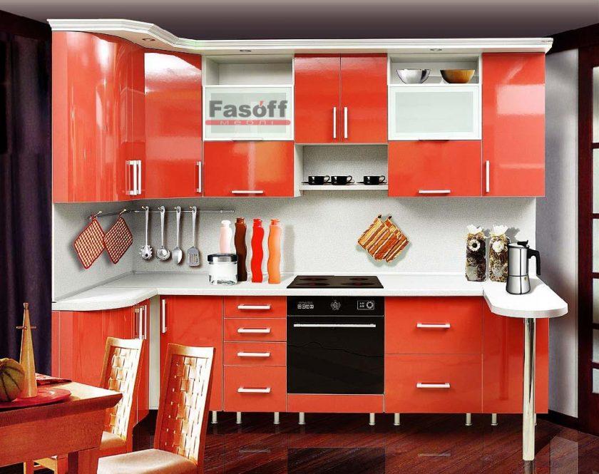 Кухня София красная крашенный мдф