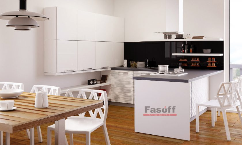 Кухня модерн Белый глянец / Белый глянец 3D волна от Аква Родос