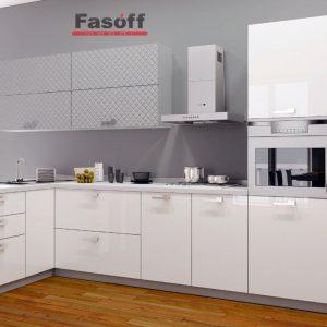 Кухня модерн Аква Родос Серый мат 3D ромб / Белый глянец