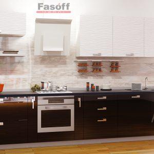 Кухня модерн Аква Родос Белый глянец 3D волна / Черный глянец