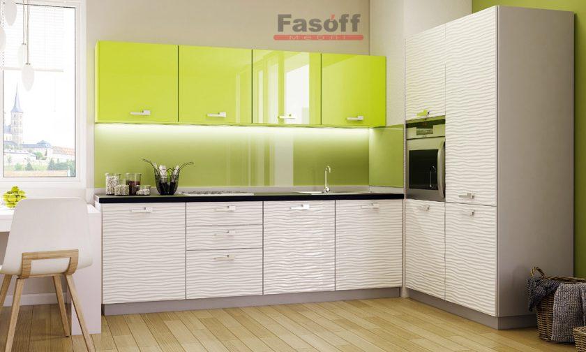 Кухня Аква Родос Фисташковый глянец / Белый глянец 3D волна