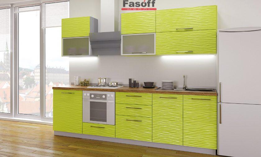 Кухня модерн Аква Родос Фисташковый глянец 3D волна