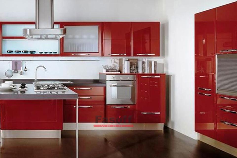 Красная глянцевая кухня с прямыми крашенными МДФ фасадами Билычи