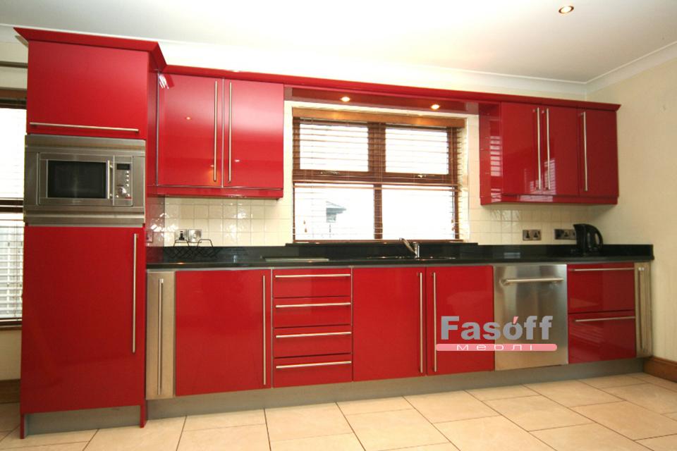 Красная кухня с прямыми пленочными МДФ фасадами и фурнитурой Hettich Борщаговка