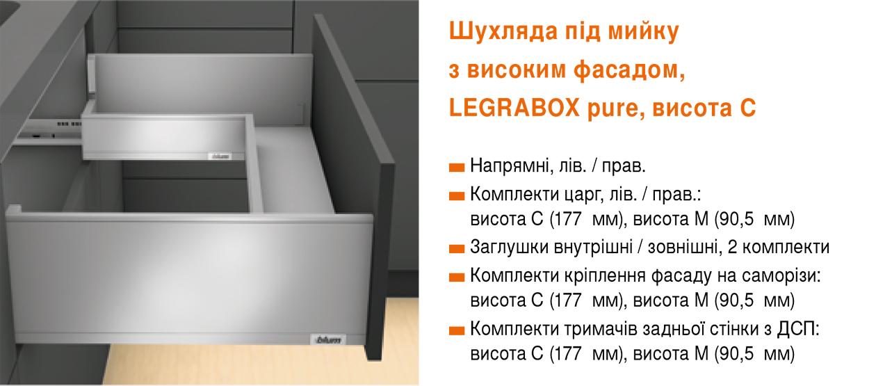 Выдвижные системы LEGRABOX Blum для кухни Стоянка