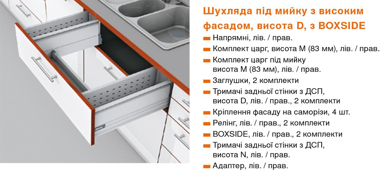 Кухня с выдвижными системами TANDEMBOX Blum под мойку Шулявська