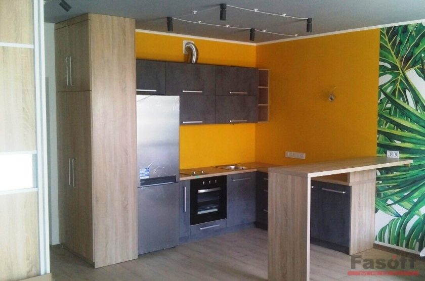 кухня под заказ с фасадами бетон
