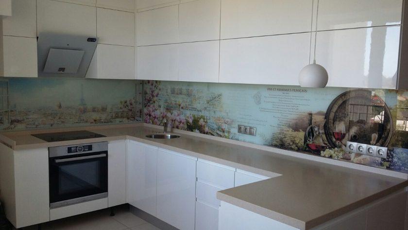 Кухня с крашеными глянцевыми фасадами и фурнитурой Блюм Борщаговка