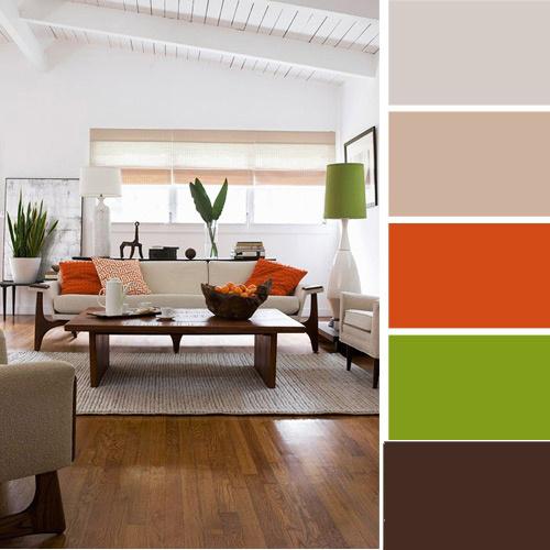 Интерьер в зеленых, серых и оранжевых  тонах